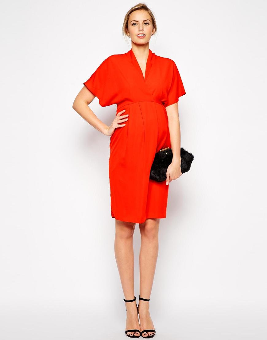 Asos maternity work wear dress with kimono sleeve in red lyst gallery womens kimono dresses ombrellifo Choice Image