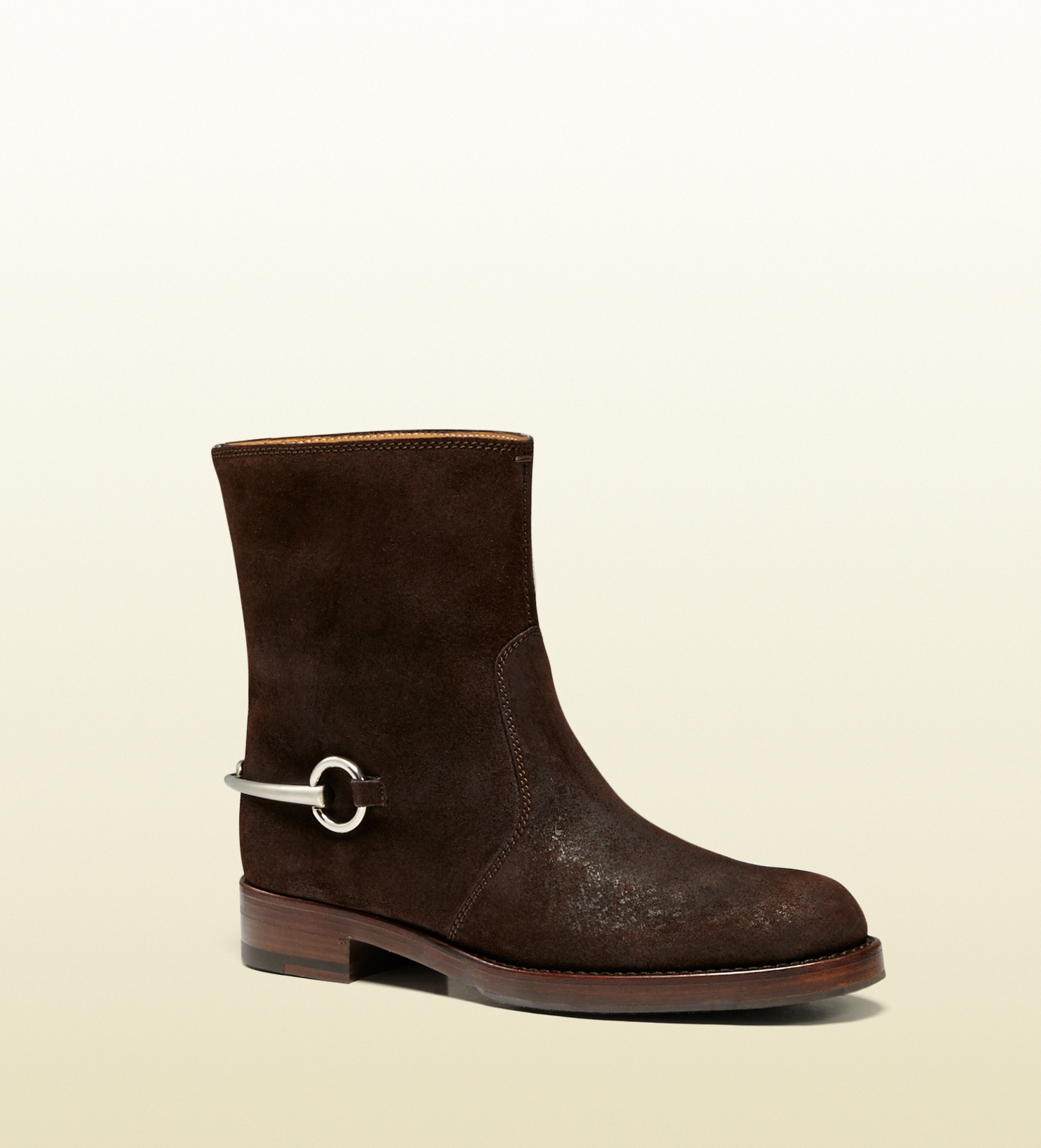 gucci suede horsebit ankle boot in brown for lyst