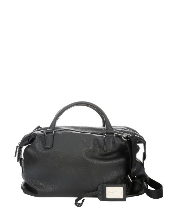 Giorgio Armani Black Leather Top Handle Weekender Bag in Black for ... 85d4e24dbad7c