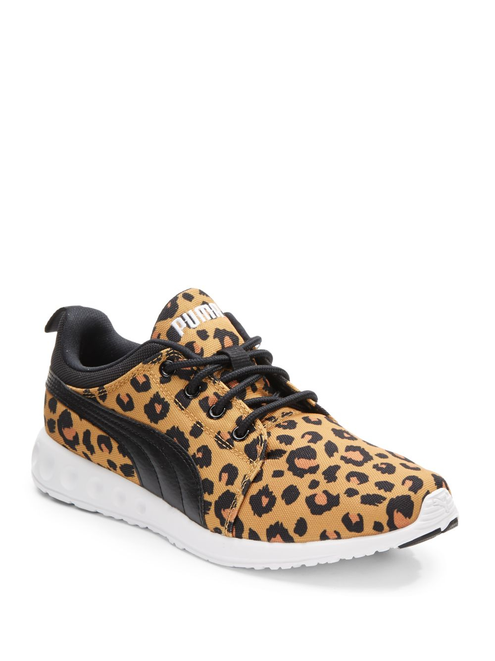 puma carson runner leopard print canvas sneakers lyst. Black Bedroom Furniture Sets. Home Design Ideas