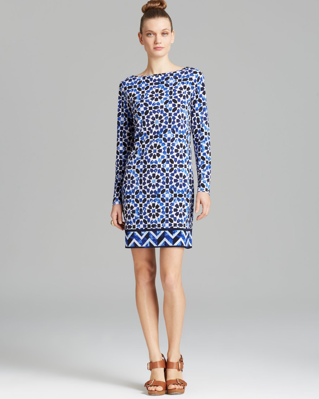 Lyst - Michael Michael Kors Border Print Dress in Blue