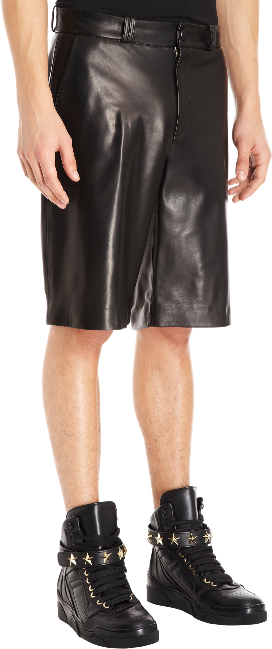 lyst  givenchy leather bermuda shorts in black for men