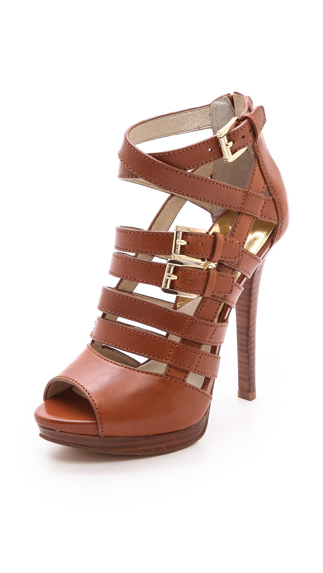 ec8e73c6ee7b Lyst - MICHAEL Michael Kors Sandra Platform Sandals Luggage in Brown