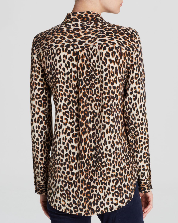 Equipment Leopard Print Slim Signature Jewel Collar Silk