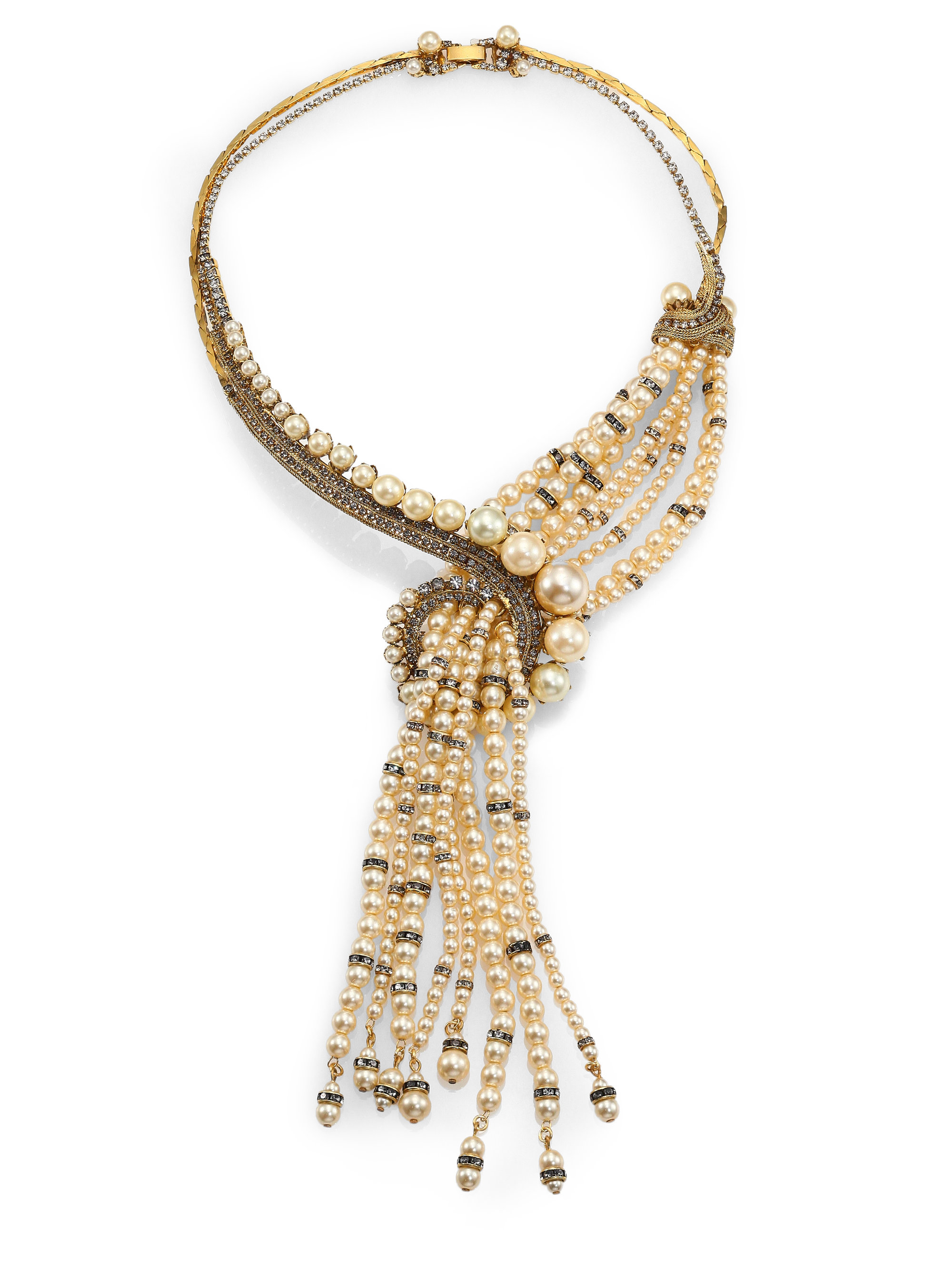 Lyst - Erickson Beamon Stratosphere Crystal & Faux Pearl Statement ...
