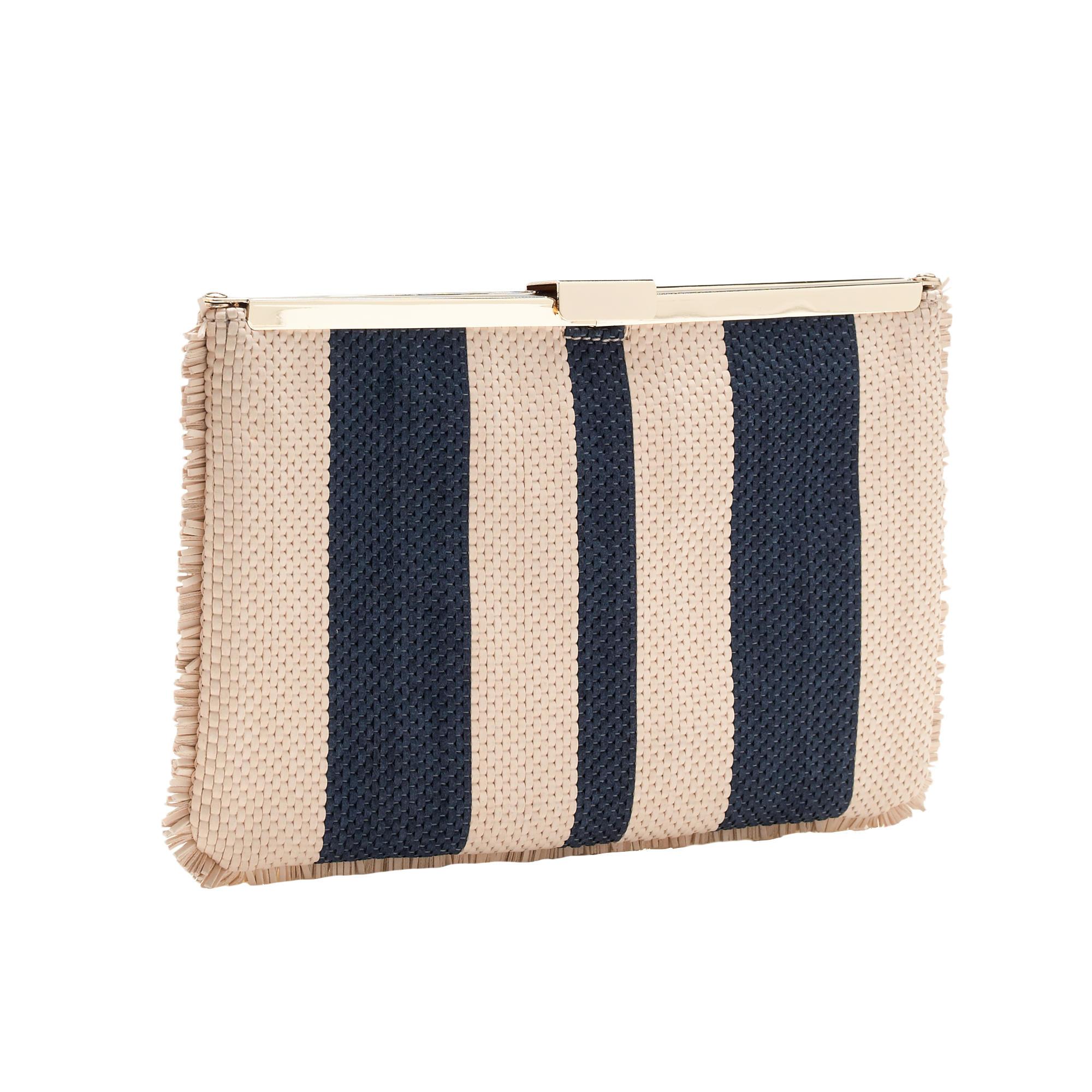 prada black fringe bag - J.crew Woven Striped Clutch in Blue (natural navy) | Lyst