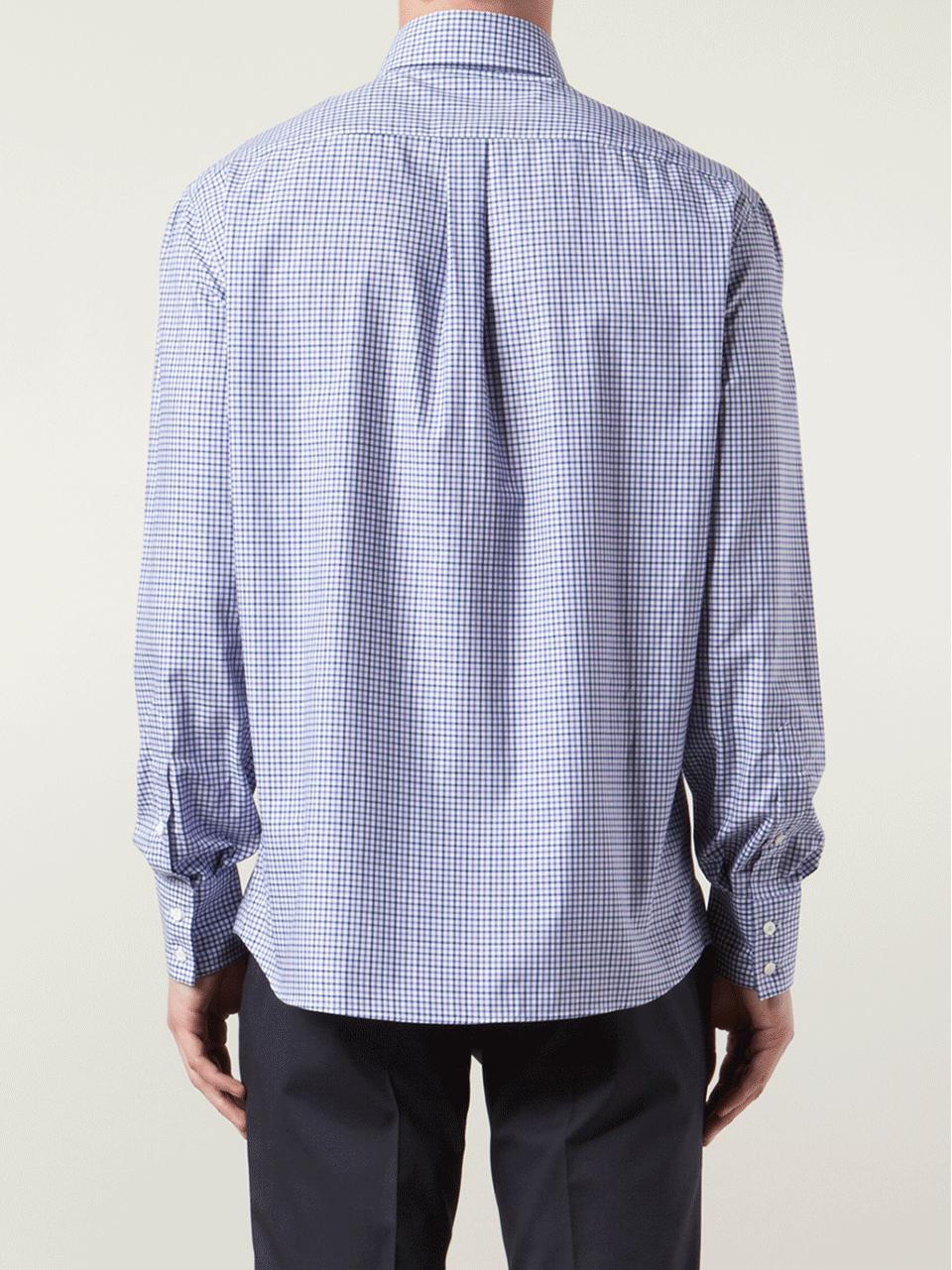 Brunello cucinelli check spread collar shirt in pink for for What is a spread collar shirt
