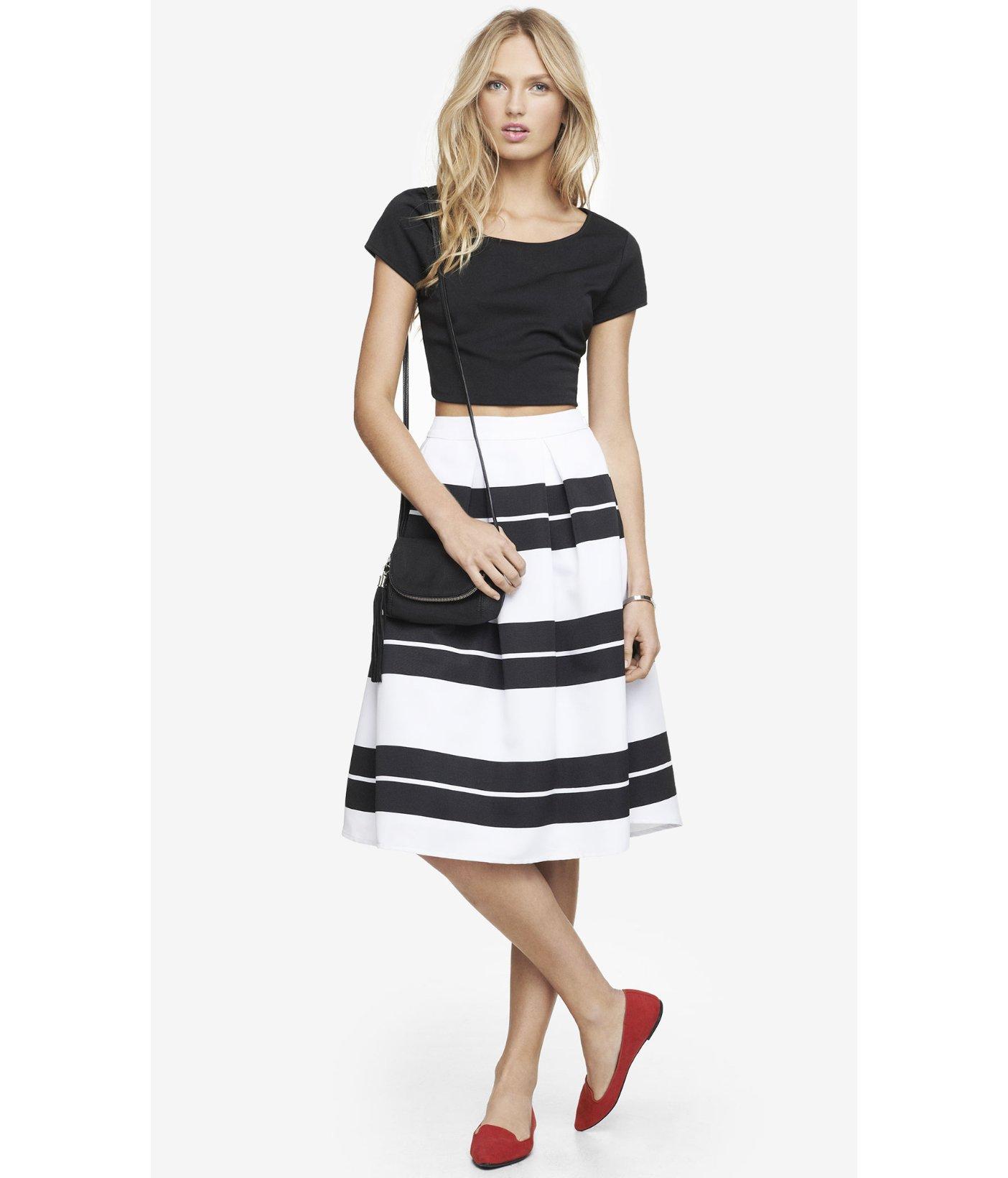 express high waist striped midi skirt in white lyst