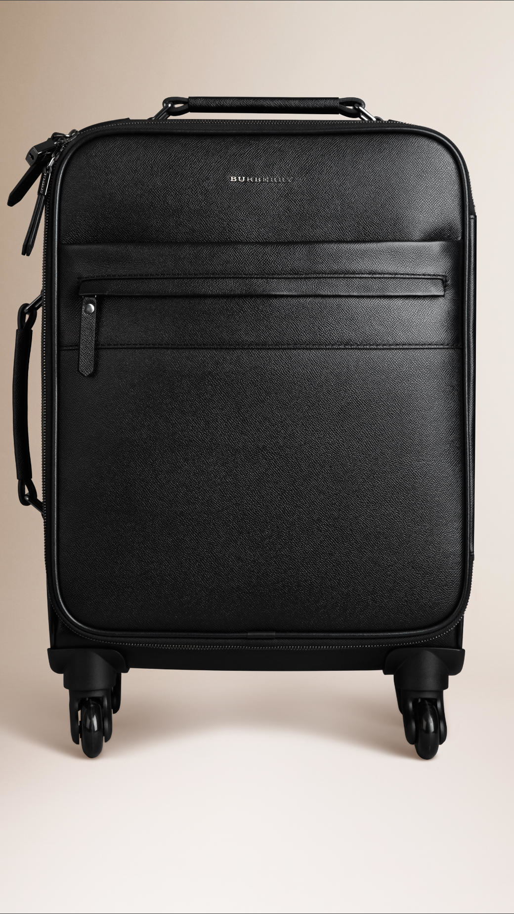 Burberry London Leather Four-wheel Suitcase in Black for Men | Lyst