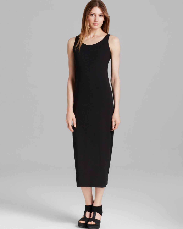 710a92967cb325 Lyst - Eileen Fisher Scoop Neck Maxi Dress in Black