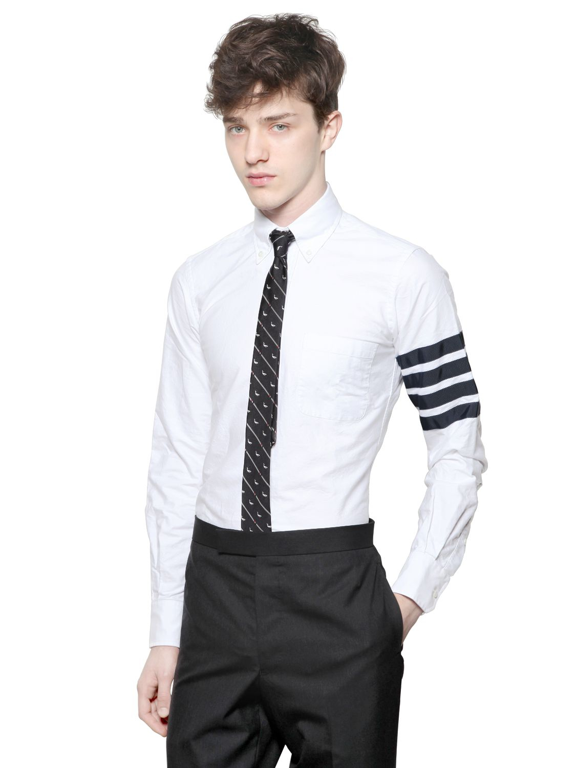 Thom browne cotton oxford button down shirt in white for for Thom browne shirt sale