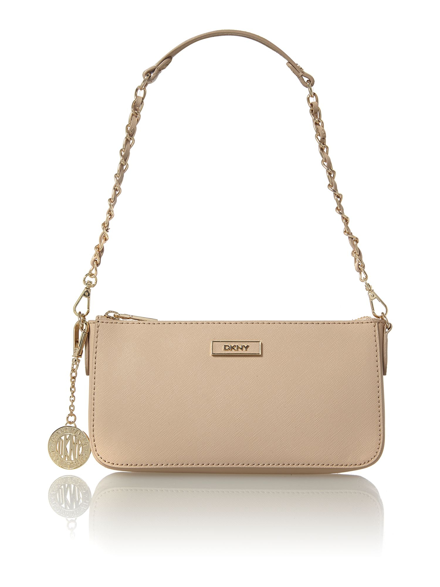 Dkny Saffiano Neutral Small Shoulder Bag in Natural | Lyst