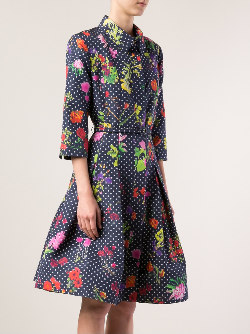 oscar de la renta floral shirt dress in blue lyst