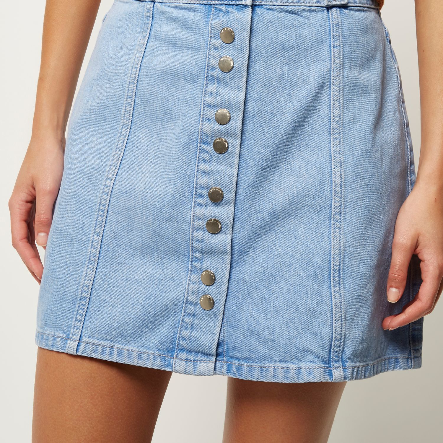 River island Light Denim Button-up A-line Skirt in Blue | Lyst