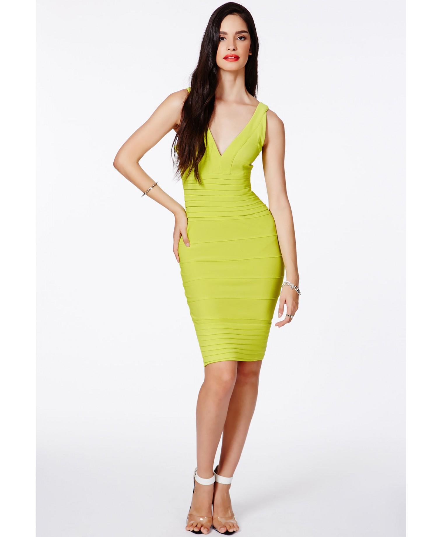 Missguided Mulan Bandage Bodycon Midi Dress in Lime in Green - Lyst af82c4f2ec