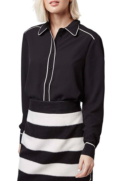 Lyst Topshop Contrast Piping Shirt In Black