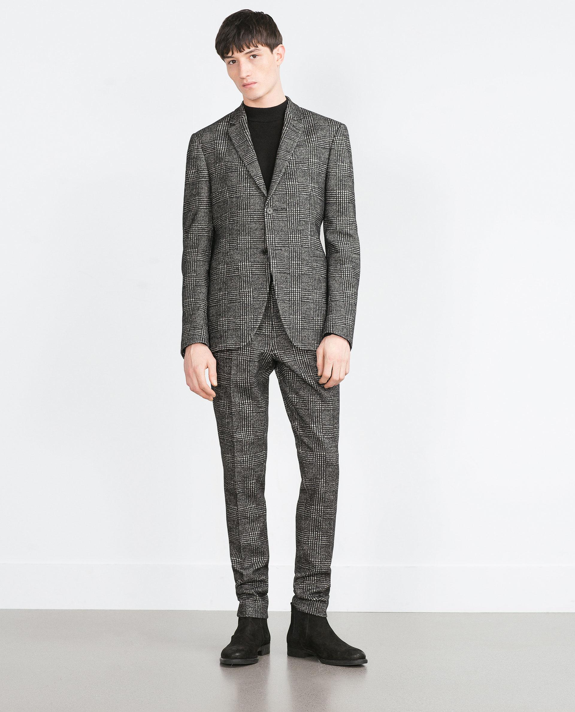 Zara Check Blazer in Black for Men | Lyst