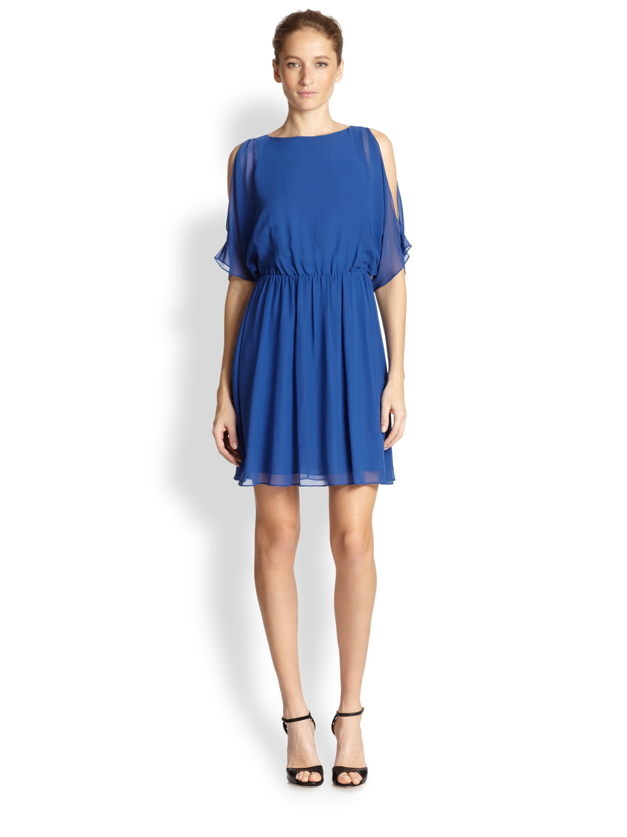Alice   olivia Avery Silk Chiffon Dress in Blue | Lyst