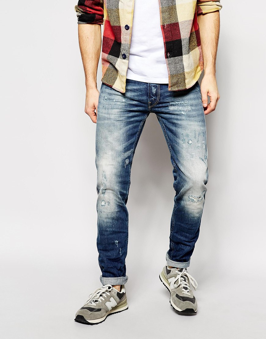 Lyst - Replay Jeans Anbass Slim Fit Vintage Distress ...