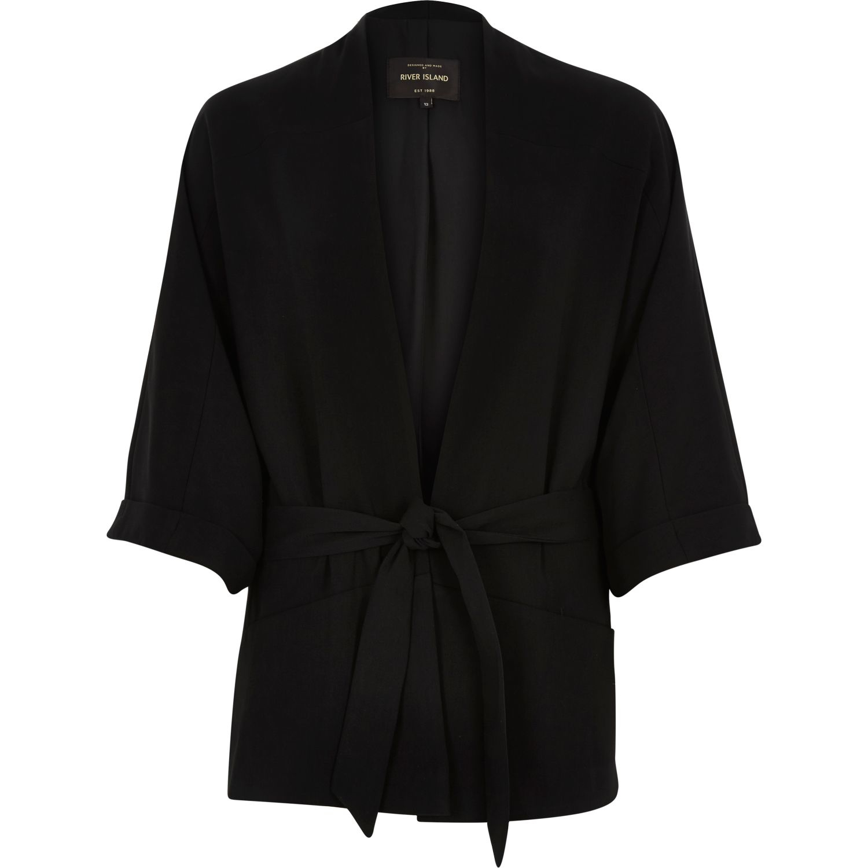river island black 3 4 sleeve kimono jacket in black lyst. Black Bedroom Furniture Sets. Home Design Ideas