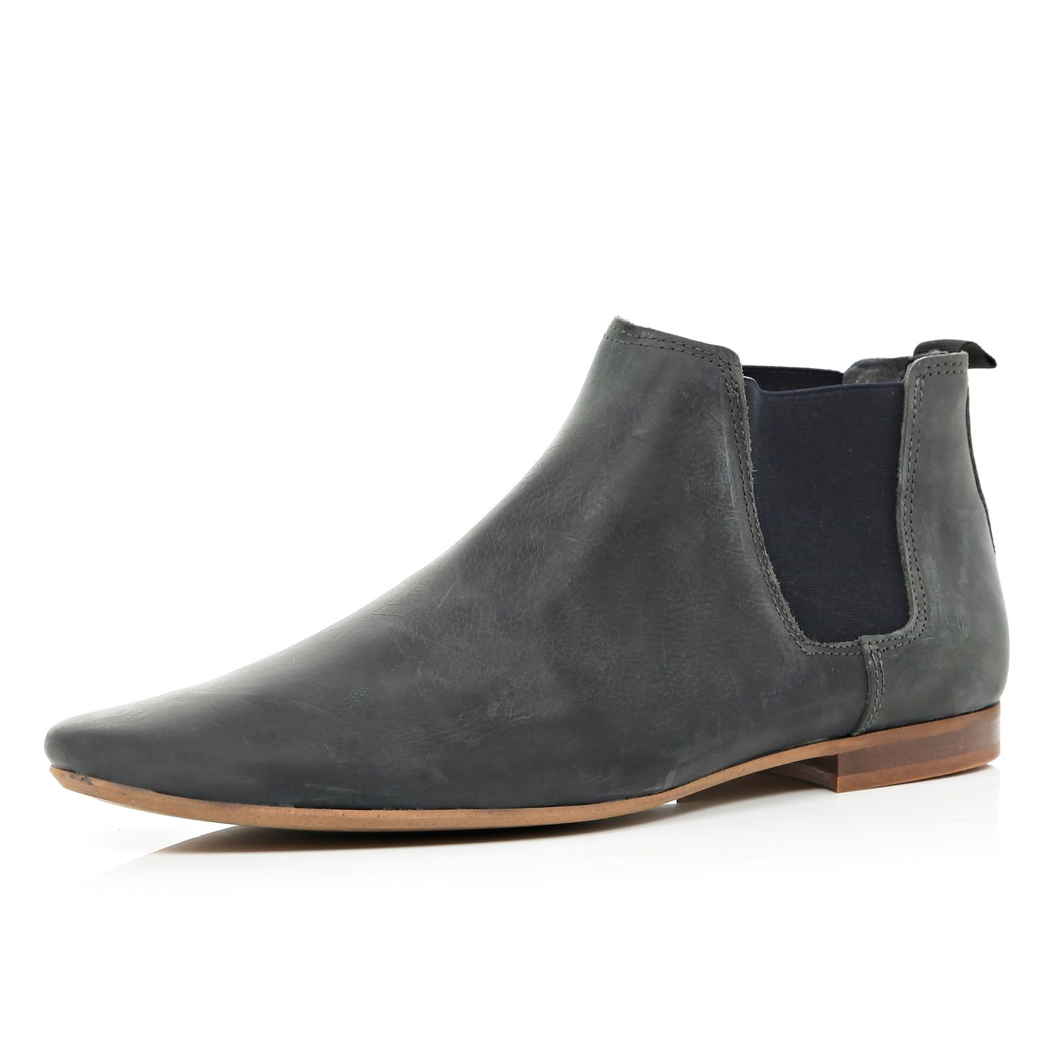 River Island Grey Leather Pointed Chelsea Boots In Gray