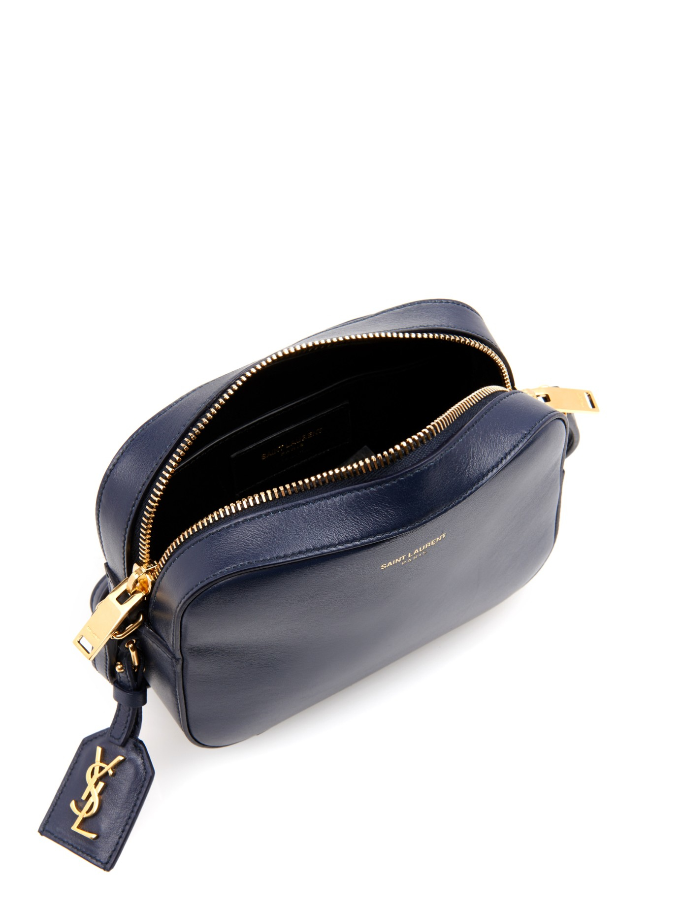Lyst Saint Laurent Small Leather Camera Bag In Blue