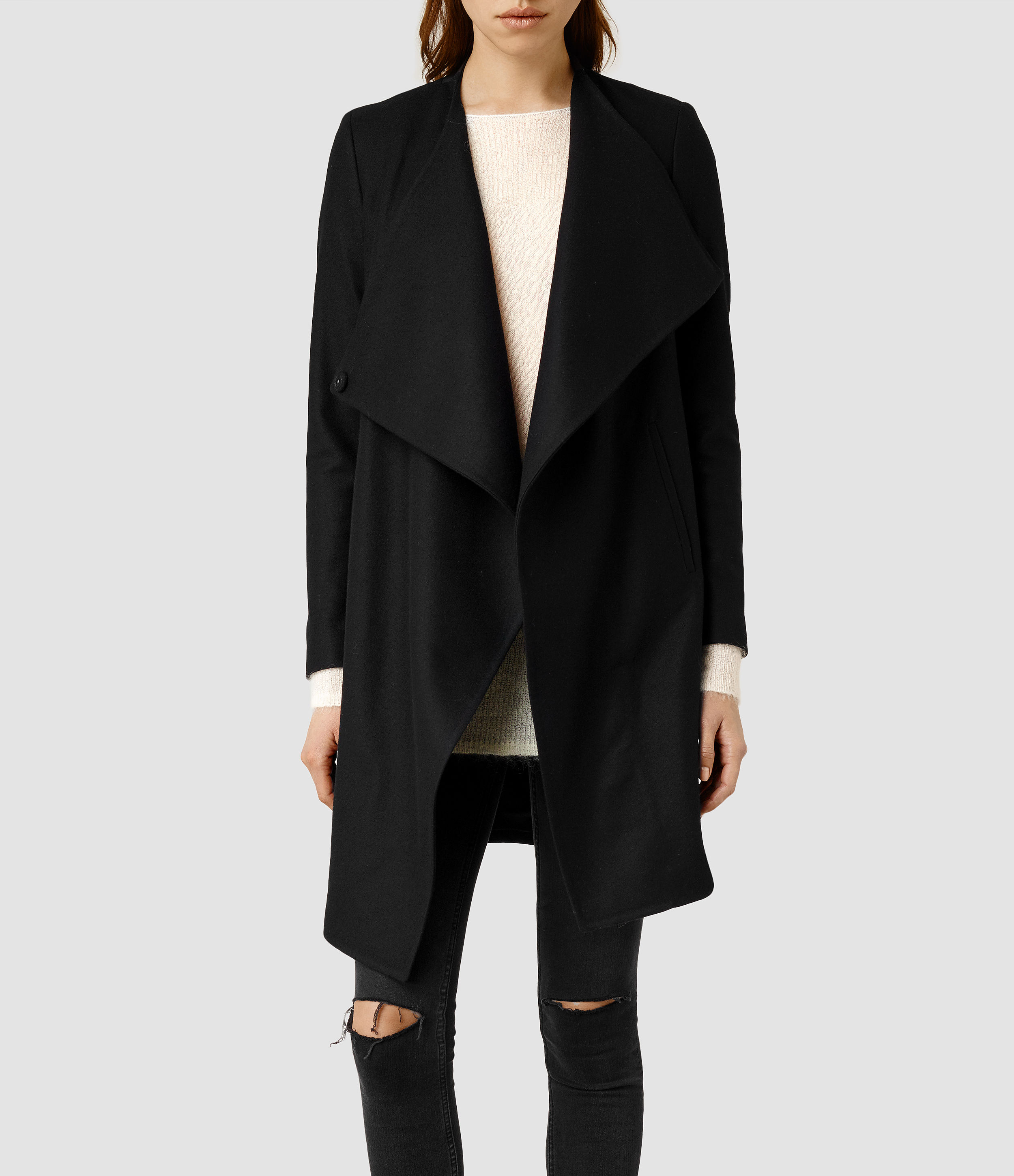 Allsaints Ora Coat in Black | Lyst