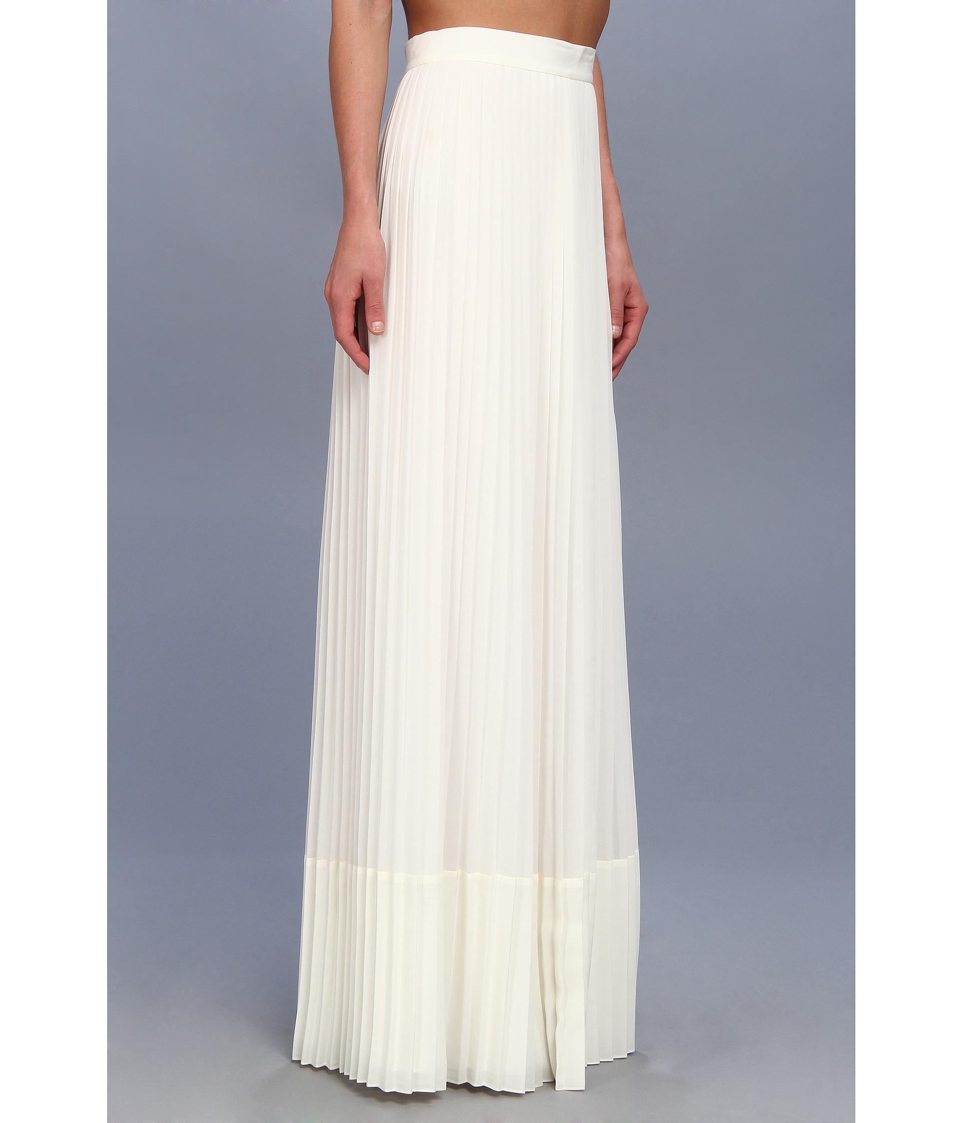 Badgley mischka Pleated Maxi Skirt in White | Lyst