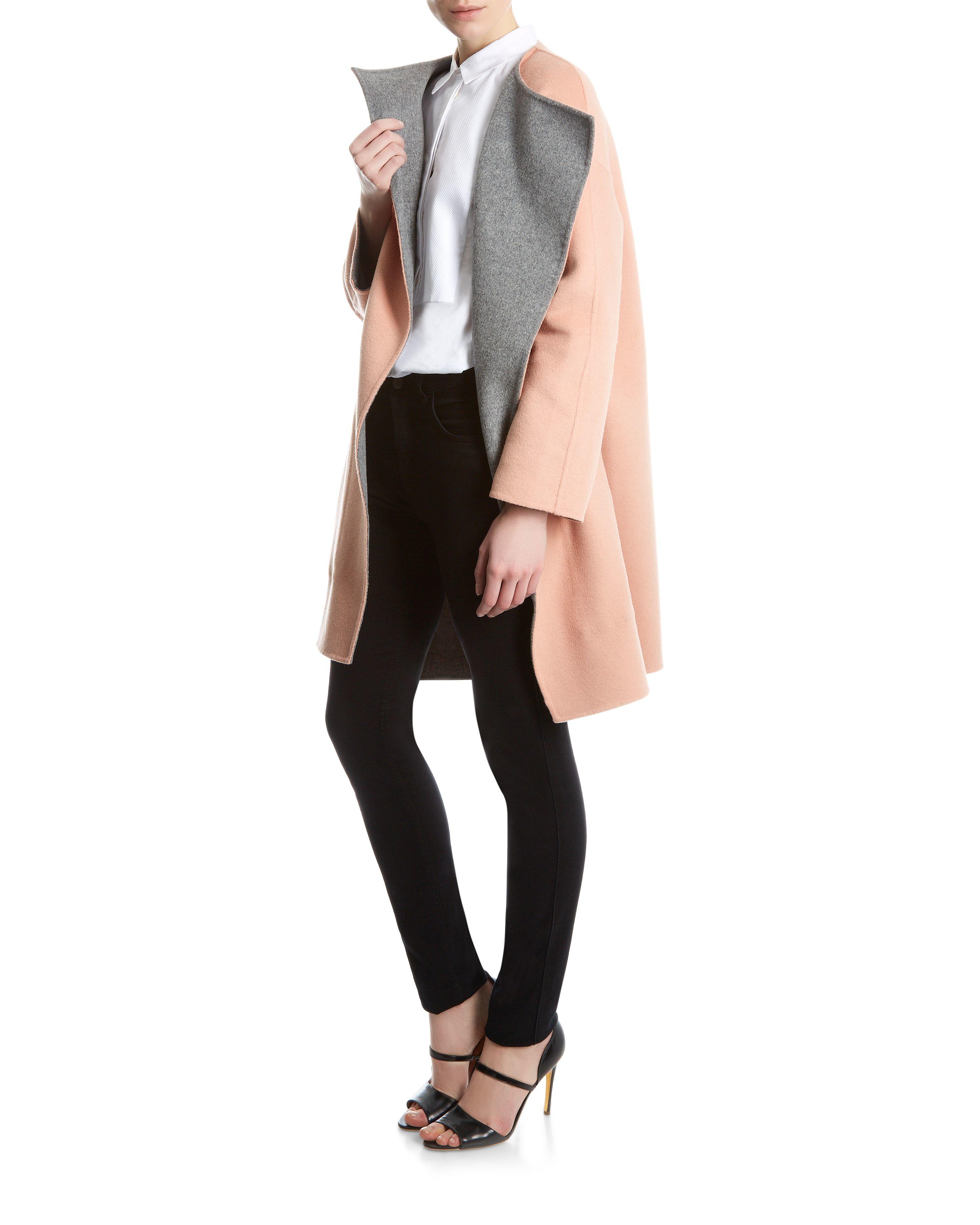 Jaeger Wool Reversible Coat in Pink   Lyst