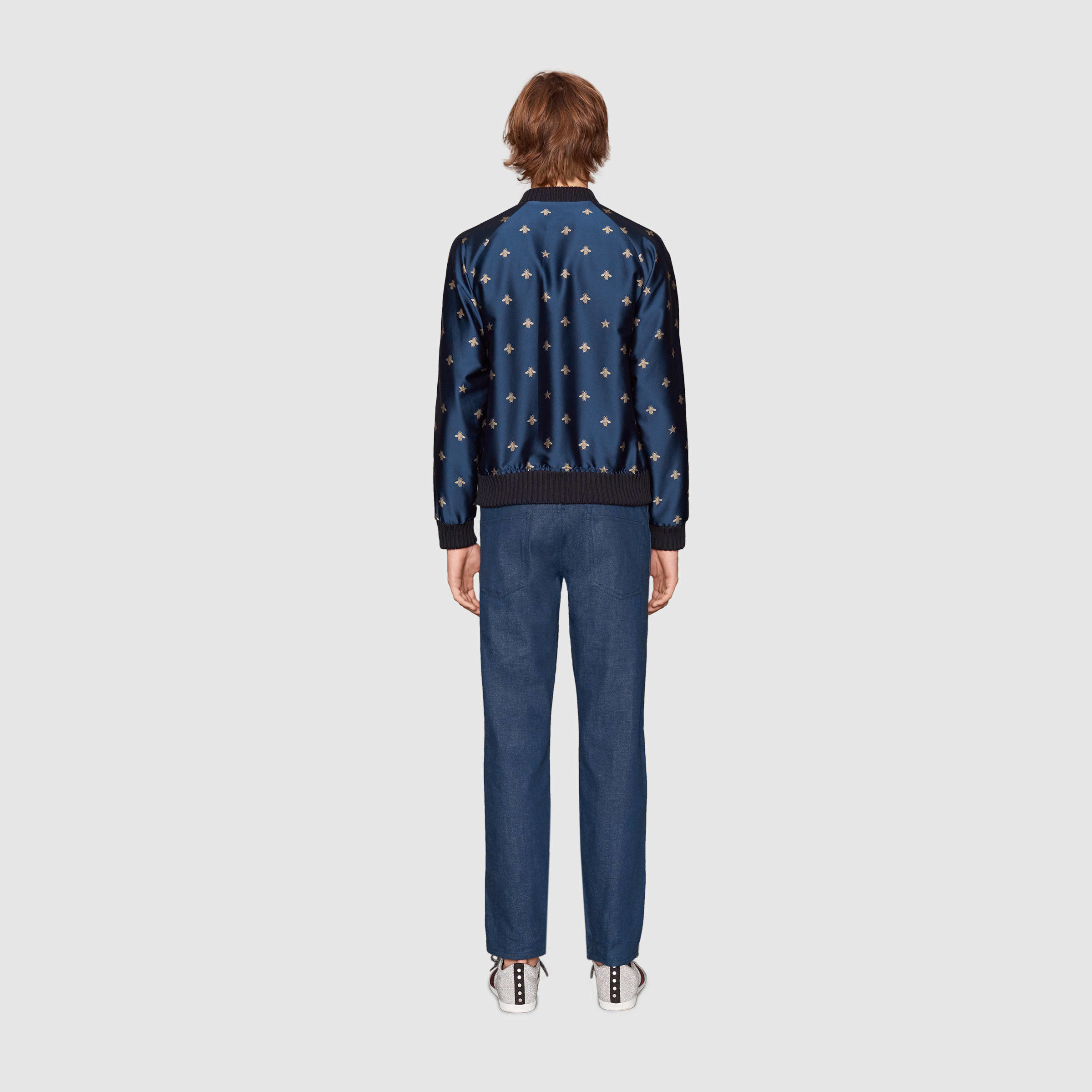 1b1db02c5 Gucci Bee Jacquard Bomber Jacket in Blue for Men - Lyst