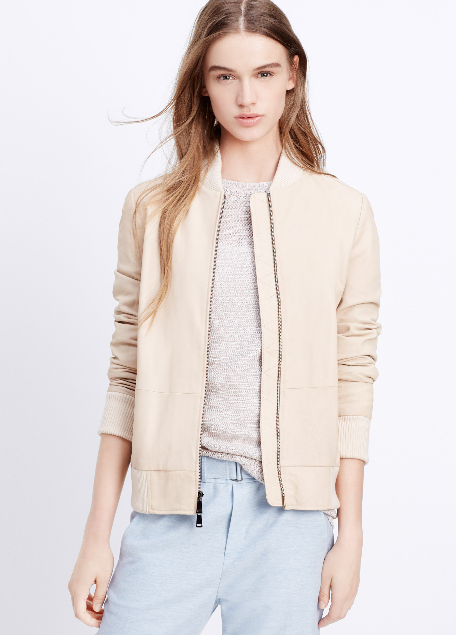 Lyst Vince Feather Leather Bomber Jacket In Natural