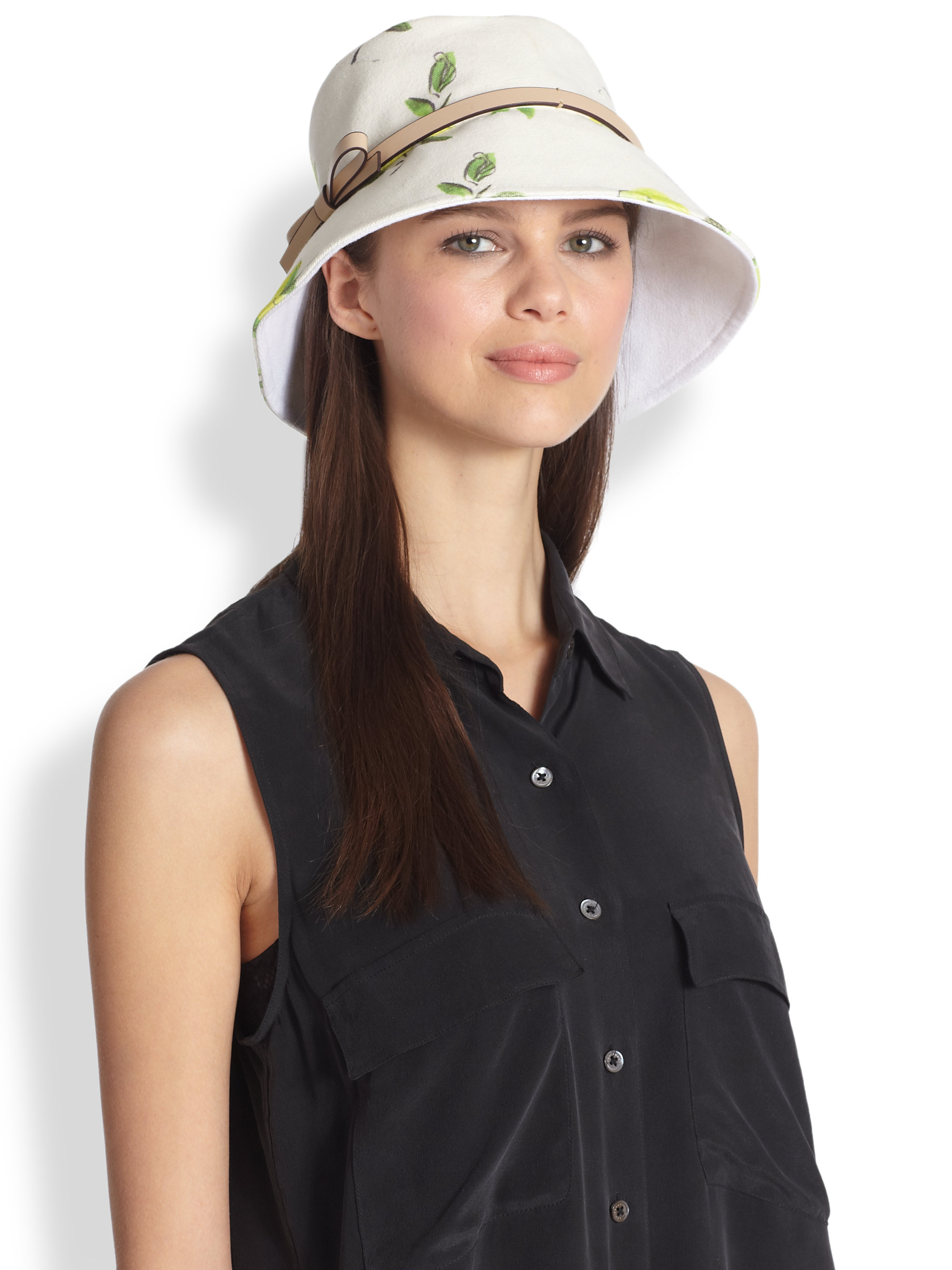 Lyst - Kate Spade Lemon Bonded Canvas Bucket Hat in White 821f9d085bd