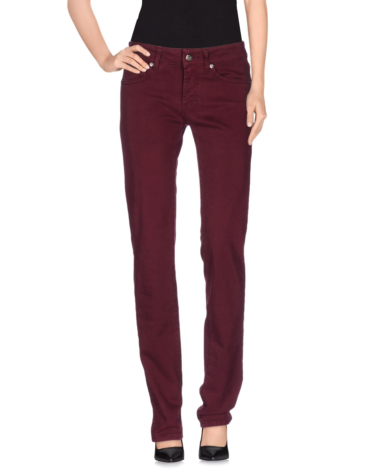 Unique Womens Burgundy Red Waistband Elastic Skinny Cotton Pants Trousers