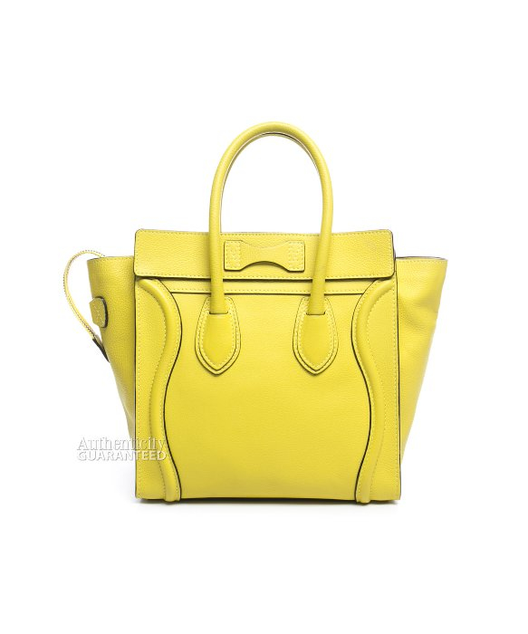 C��line Pre-owned Yellow Drummed Leather Micro Luggage Tote Bag in ...