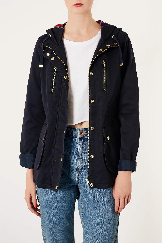 Lyst Topshop Petite Hooded Lightweight Jacket In Blue