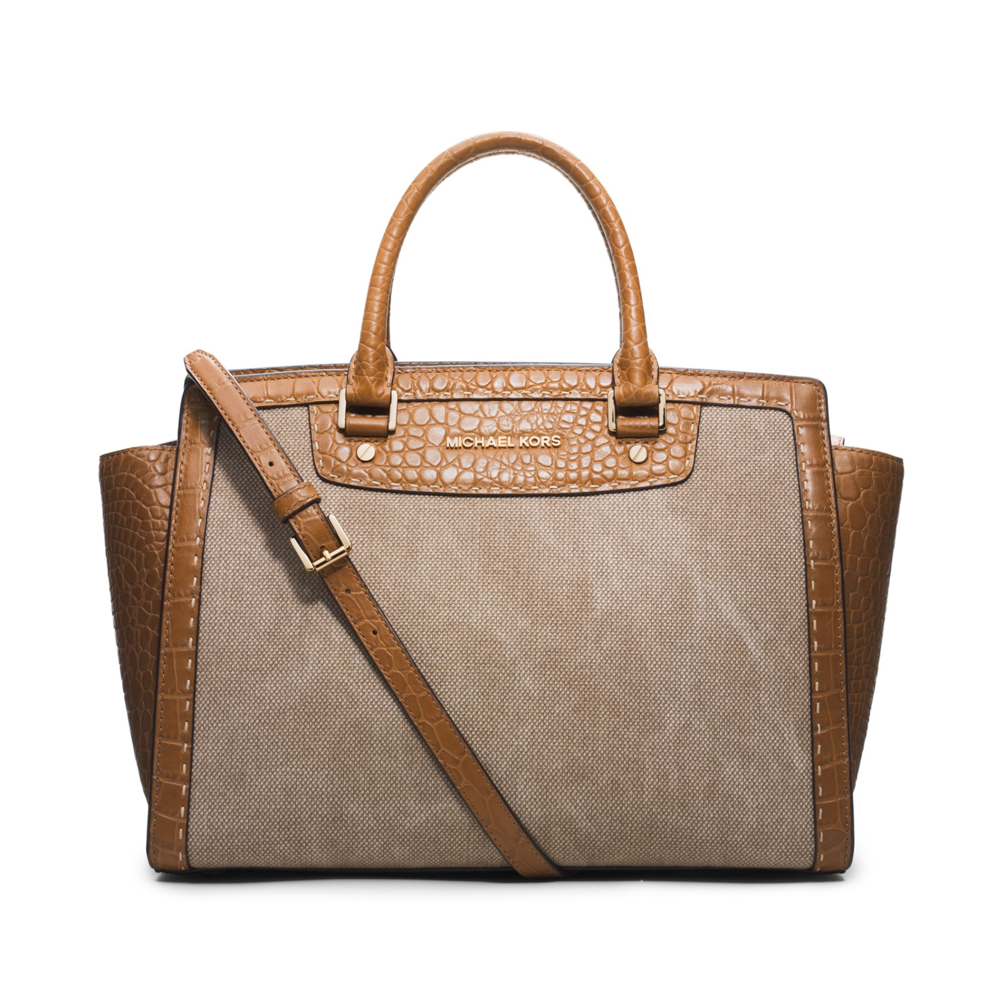 michael kors michael selma pick stitch large satchel in brown hemp lyst. Black Bedroom Furniture Sets. Home Design Ideas