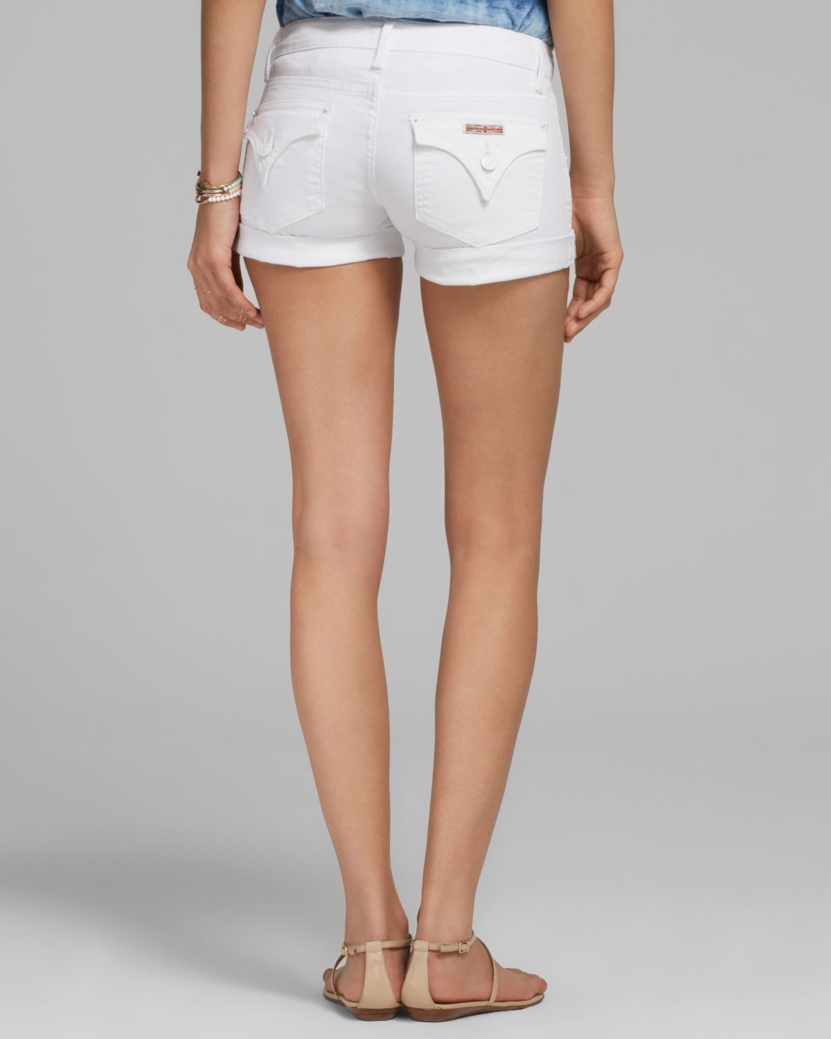 Hudson jeans Hampton Cuffed Shorts in White | Lyst