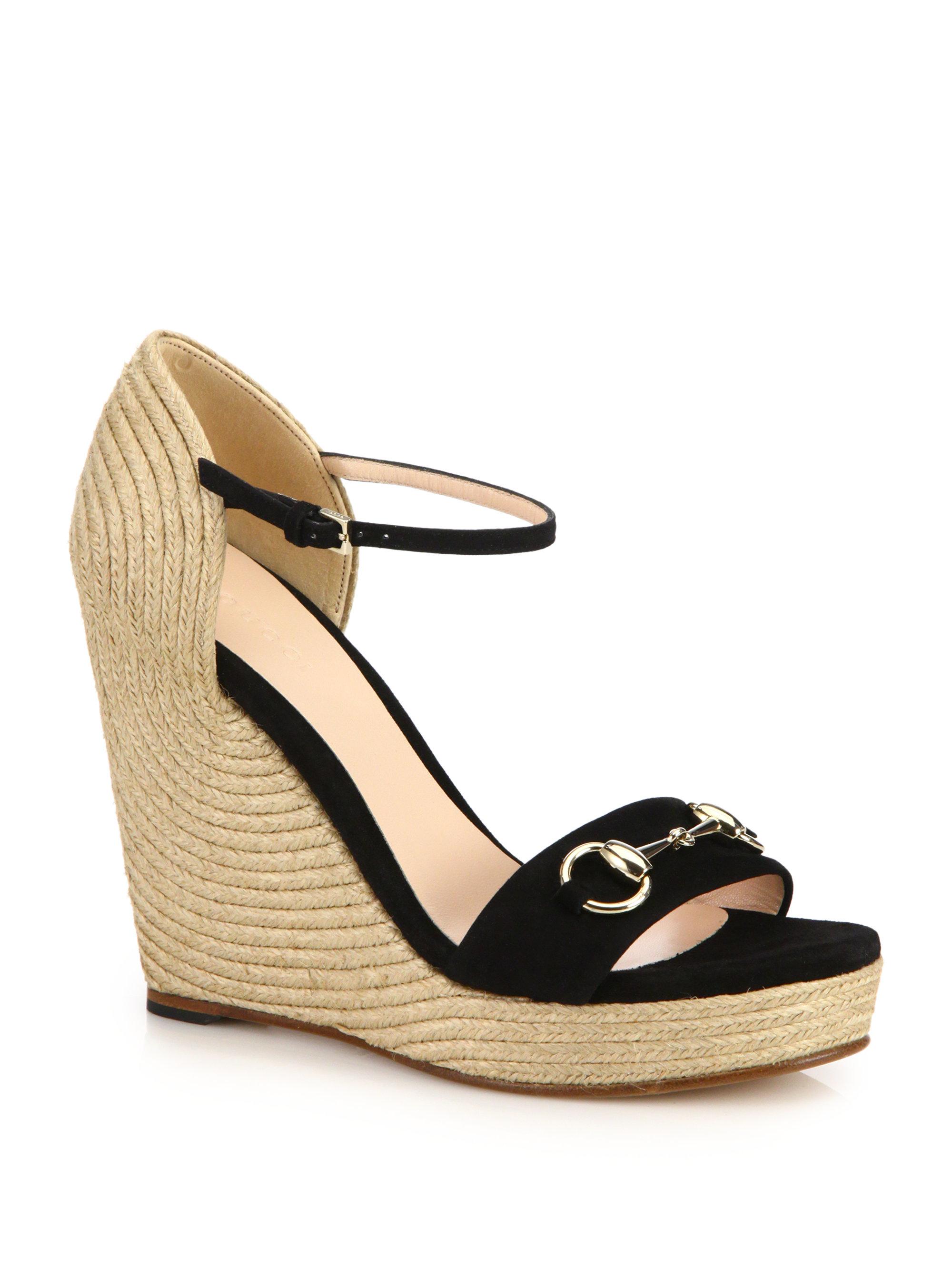 gucci horsebit detailed suede espadrille wedge sandals in