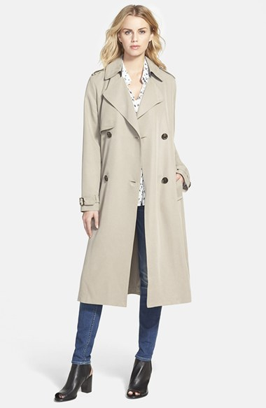Vera wang Double Breasted Long Trench Coat in Gray | Lyst