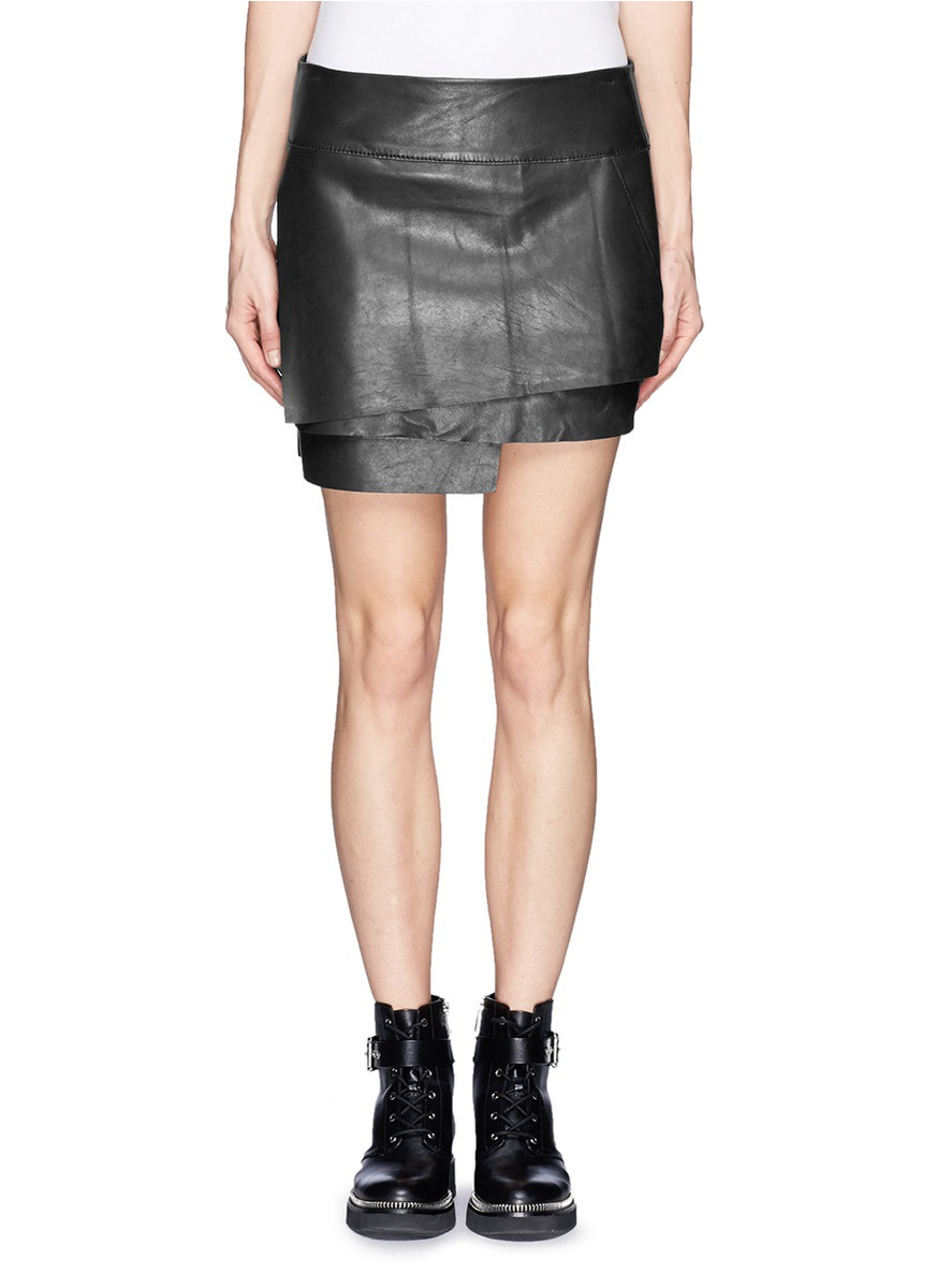 helmut lang multi layer leather skirt in black lyst