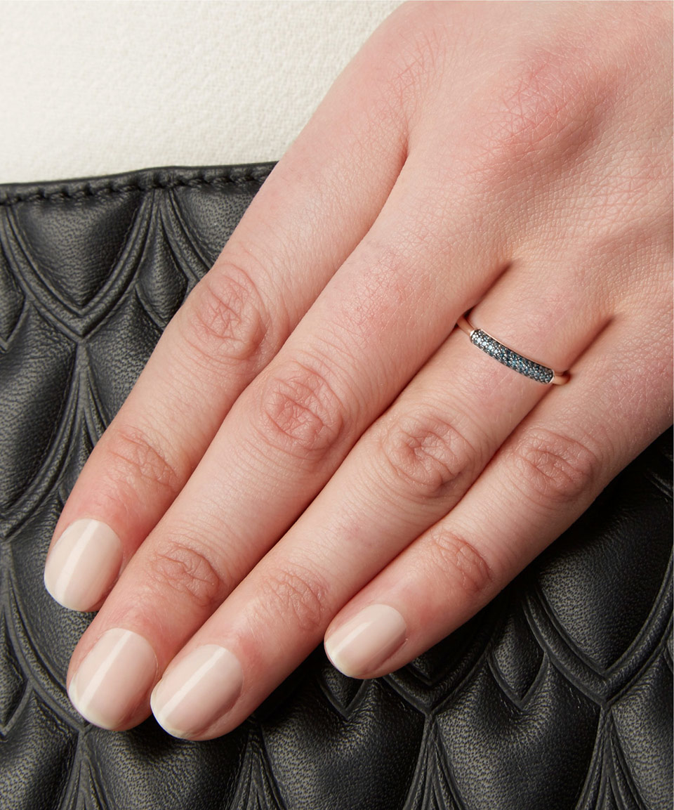 Stellar Blue Diamond Stacking Ring, Rose Gold Vermeil on Silver Monica Vinader