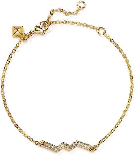 Zig Zag Jewellery: Rebecca Minkoff Zig Zag Pavé Bracelet In Gold (Gold/Crystal