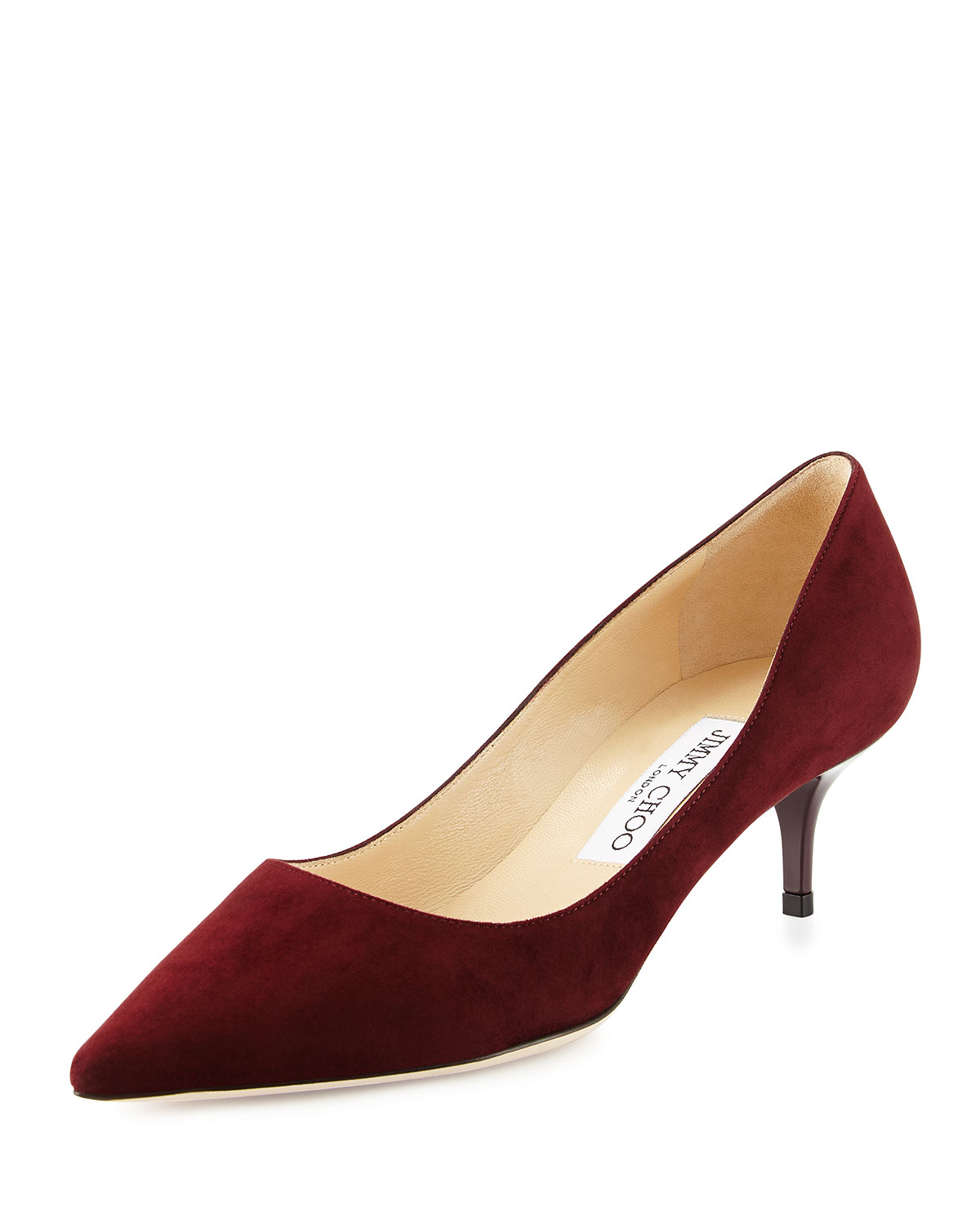 Jimmy choo Aza Suede Kitten-Heel Pumps in Red | Lyst