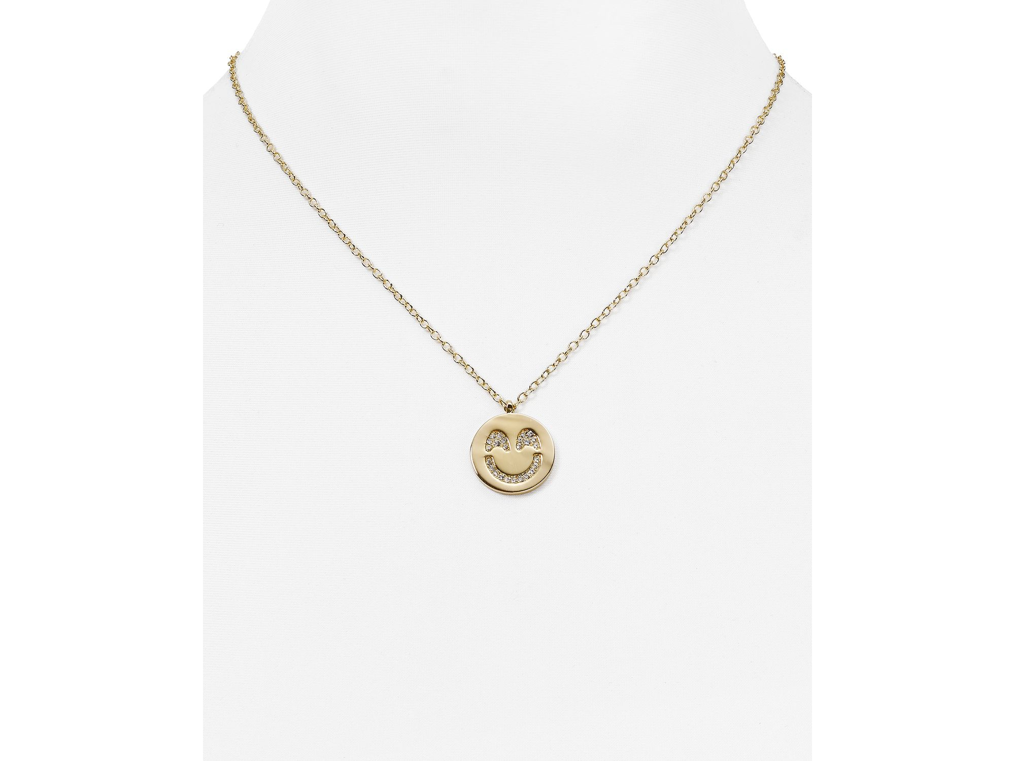 Lyst kate spade new york pave smiley emoji pendant necklace 16 gallery aloadofball Image collections