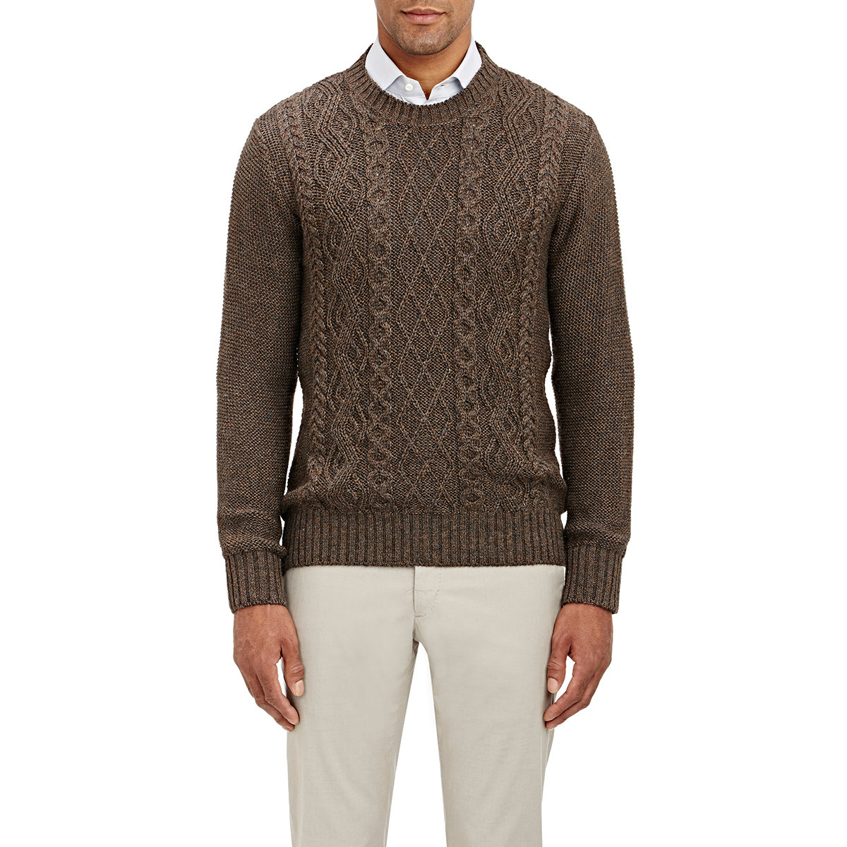Lyst Inis Mein Cable Knit Sweater In Brown For Men