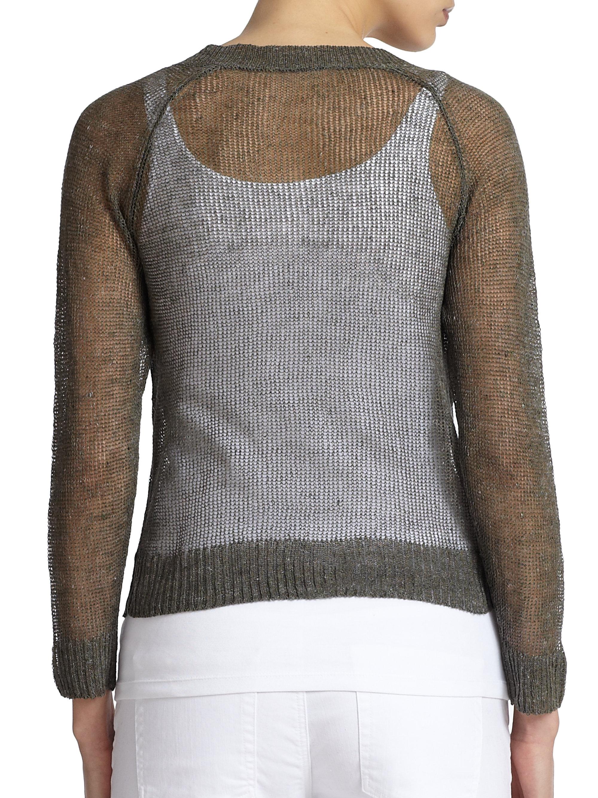 Eileen fisher Linen & Cotton Open-Knit Sweater in Green Lyst