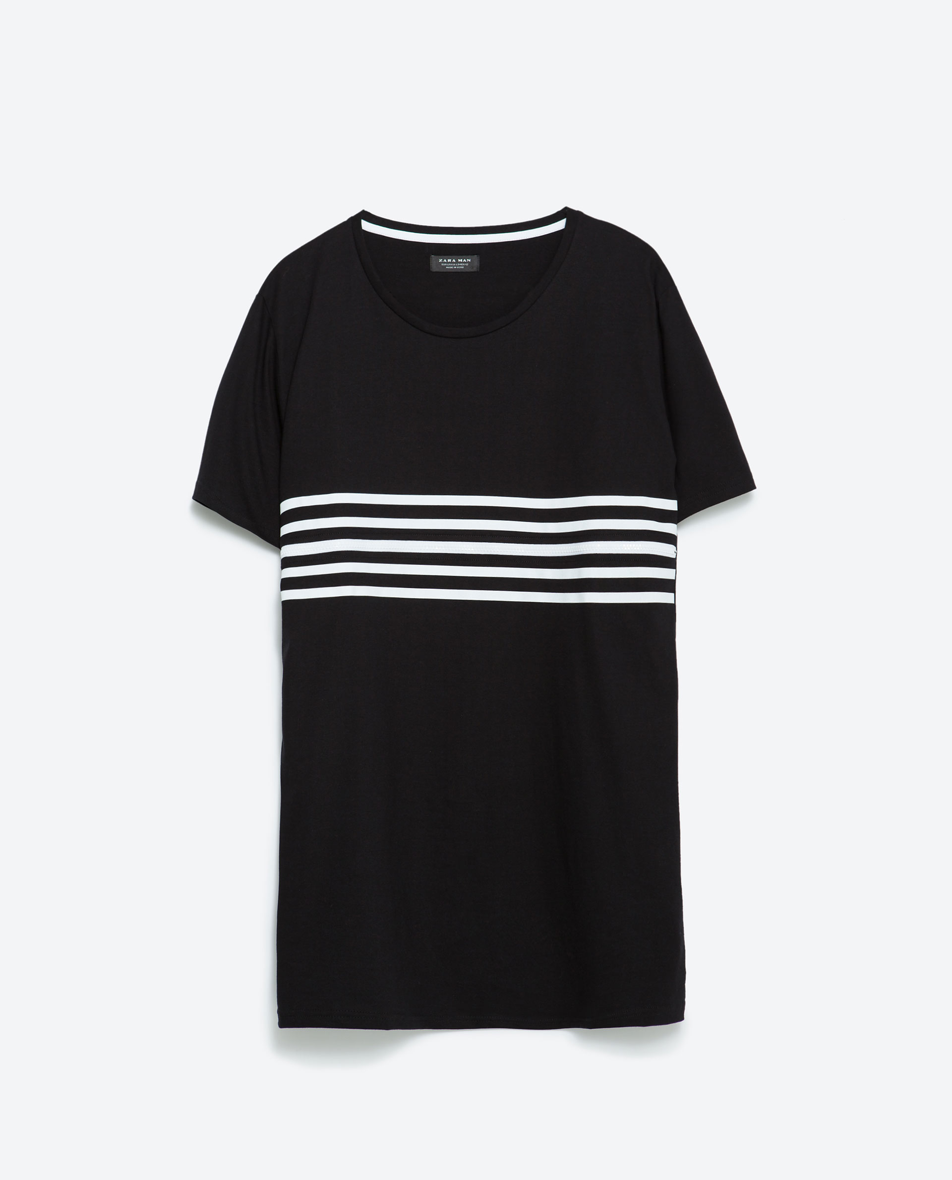 Zara black zip and stripes t shirt for men lyst for Zara mens shirts sale