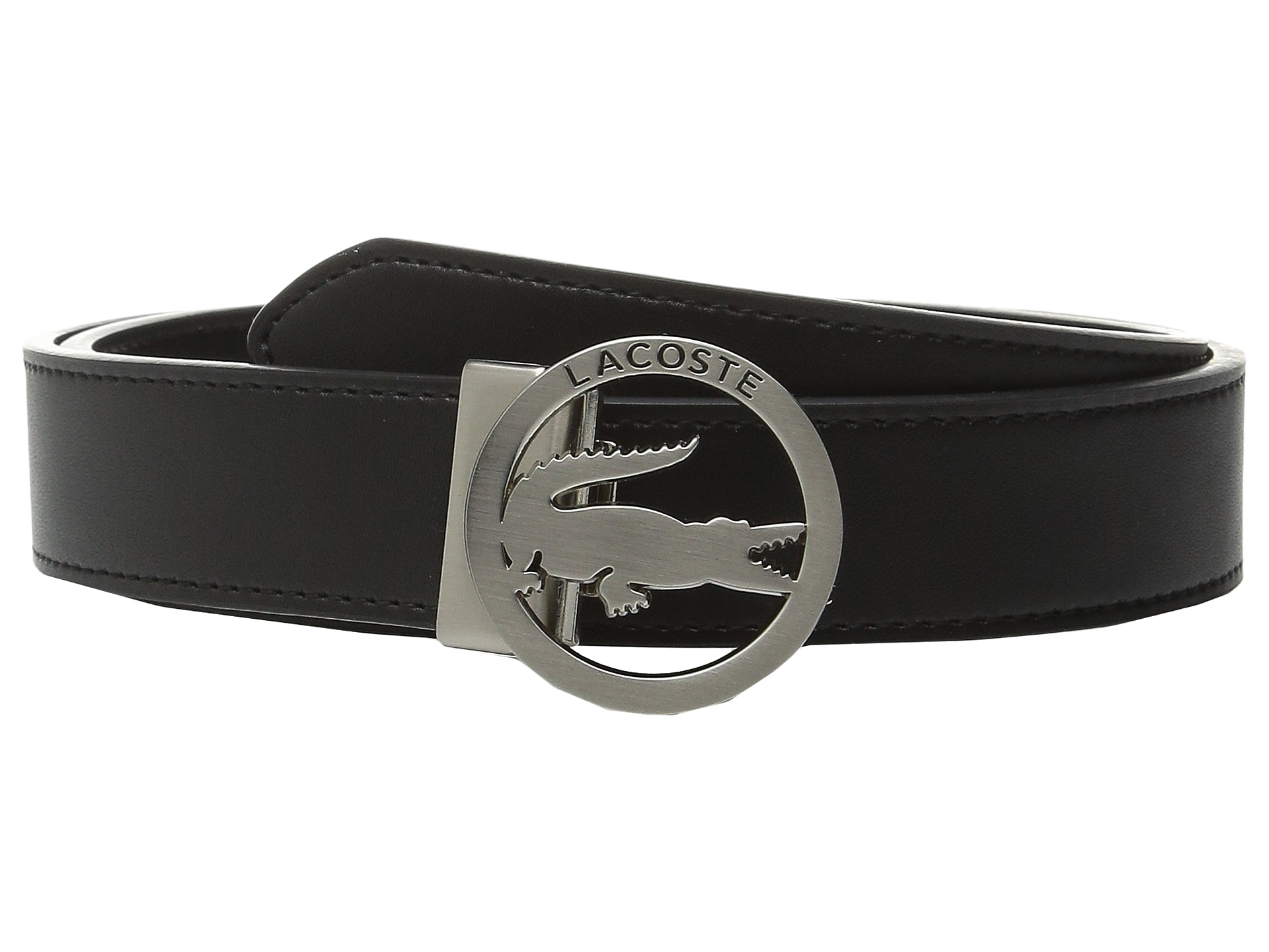 Lacoste Premium Leather Belt Cutout Buckle in Black