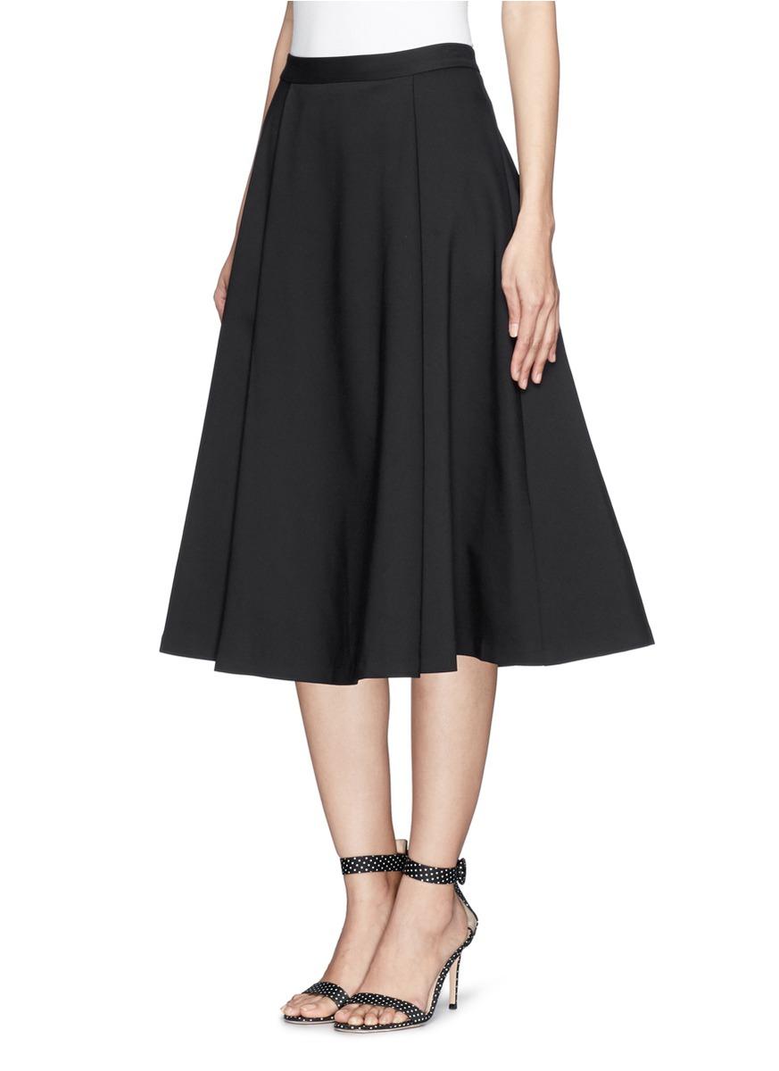 Alice   olivia Box Pleat Midi Skirt in Black | Lyst