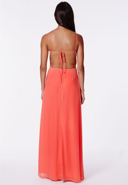 Red Open Back Maxi Dress Open Back Maxi Dress Coral